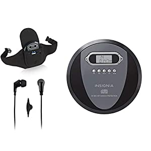 Insignia NS-P4112 Portable CD Player with Skip Protection – Black with Savanizer CD Player Holder Case with Belt and Earphones