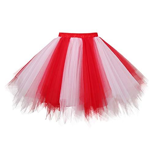 Topdress Women's 1950s Vintage Tutu Petticoat Ballet Bubble Skirt (26 Colors) Red White M
