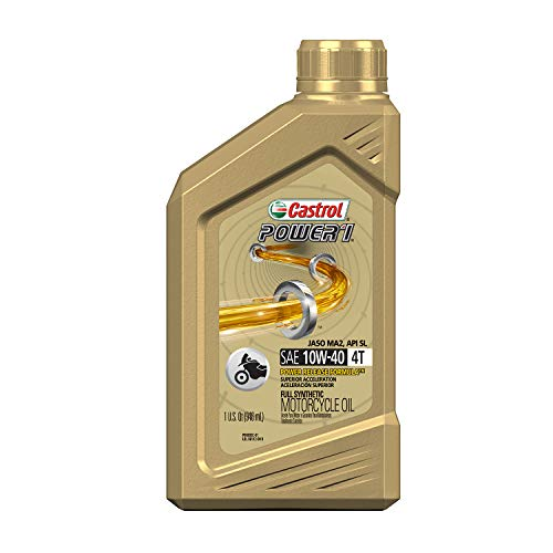 Castrol 06112 POWER 1 4T 10W-40 Synthetic Motorcycle Oil, 1 Quart Bottle, 6 Pack (15D1C9)