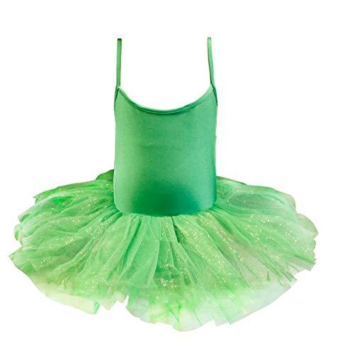 Carnavalife Maillot de Ballet Danza Niña Elástica con Falda Tutu de Tirantes Finos (Verde, 4-6 años)