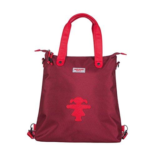 AMPELMANN Shoppinghelferin - Handtasche 3 in 1 - in Bordeaux aus Polyester im Canvas-Stil mit PU-Lederapplikation und Ampelfrau