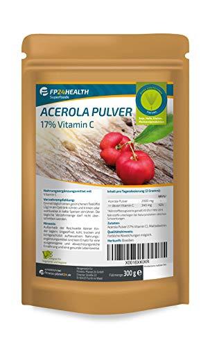 FP24 Health Acerola Pulver 300g - Acerola 17% Vitamin C - 340mg Vit. C - Zippbeutel - Top Qualität