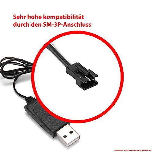 Himoto HSP USB-Ladekabel mit 6.4V und SM-3P Stecker für u. a. RC Flugzeuge, Drohnen, Bagger, Fahrzeuge, Panzer und andere RC Modelle, Original Ersatzteil