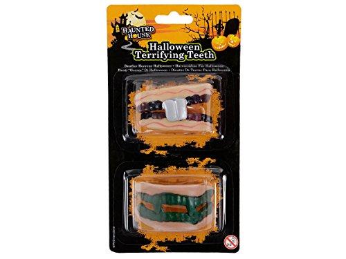 Set de dentiers horreur (Alsino Dents de zombi en silicone très souple pour adultes et enfants (P974010) Réutilisables Idéal pour compléter votre déguisement Accessoire authentique fêtes d'Halloween, choisir:P974010 dents Set 1
