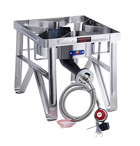 ARC SS4229S Outdoor Propane Burner, 0-20 PSI Adjustable Regulator & Steel Hose, NO Assembly Required Stainless Steel Outdoor Burner Turkey Fryer, Perfrct For Outdoor Cooking, Home Brewing 200,000 BTU