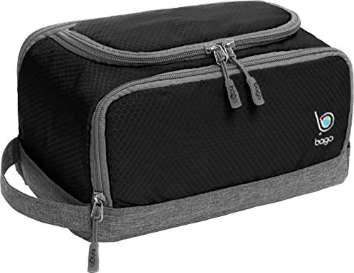 Bago Dopp Kit for Men - Shaving Kit Bags for Men - Shower Toiletry Travel Bag - Hanging Hook | Inner Organization | Mens Dopp Kit for Bathroom (Black)