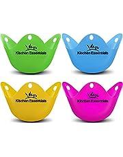 Eier stoomboot (4 stuks) – premium gepocheerd ei-eiko, mat kopjes, BPA-vrij, LFGB-silicone wilderpods – nieuwe gepocheerde eiermaker set voor pot, pan, magnetron en perfecte gepocheerde eieren