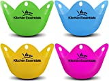 Kitchen Essentials Egg Poacher Cups (4 Pack) for Perfect Poached Eggs – Premium LFGB Grade Silicone Egg Poachers BPA-Free Poach Pods – Poached Egg Maker Set: Cooker, Boiler Steamer, Microwave Eggs