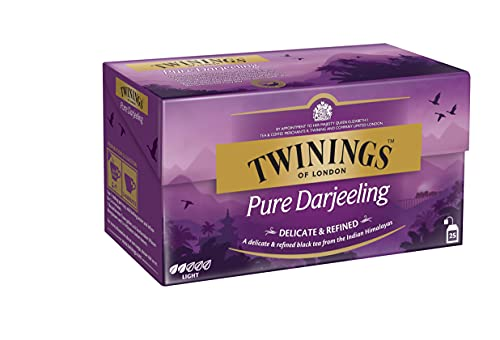 Twinings Pure Darjeeling - Schwarzer Tee im Teebeutel - zarter, erstklassiger Schwarztee mit einem Hauch von Muskat, gepflückt in den Anbaugebieten der Himalaja-Region, 25 Teebeutel (50 g)