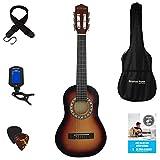 Paquete de guitarra acústica de tamaño 1/4 (31 pulgadas) de 3 a 6 años de edad clásica de nailon para niños paquete de guitarra Sunburst
