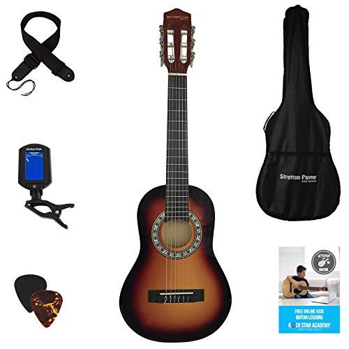 Stretton Payne Konzertgitarre für Kinder, Klassisches Gitarrenpaket, 1/4 Größe (31 Zoll), Alter 3 bis 6, Klassische Nylonsaiten-Kindergitarre im Paket, Sunburst