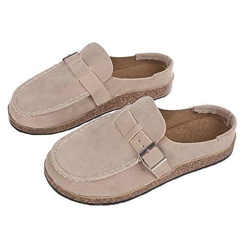 jdiw Sandalias de Vestir para Mujer Zuecos cómodos Casuales Mules Cordones de Gamuza Calzado Zapatos de Verano para el hogar Footwear