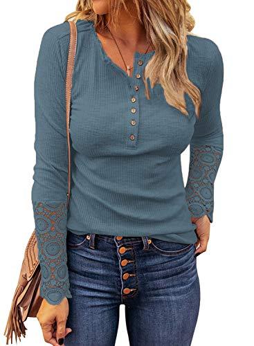LOLONG Womens Stretch V Neck Shirts Ribbed Long Sleeve T-Shirt Slim Fit Henley Tops Blue