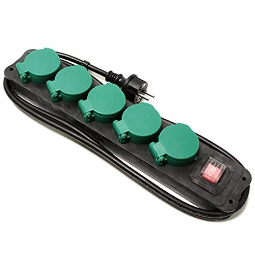 Cablematic - Regleta de enchufes IP44 para exterior 5 schuko 16A 250V con interruptor y cable de 1.5m