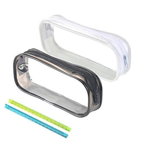 Bolso Lápiz Transparente KATOOM 2pcs Estuche Estudiante Impermeable de PVC con Cremallera Escala Triangular para Organizar Lápiz Pluma Lápiz Labial Perfume Maquillaje para Estudiantes,Viajeros