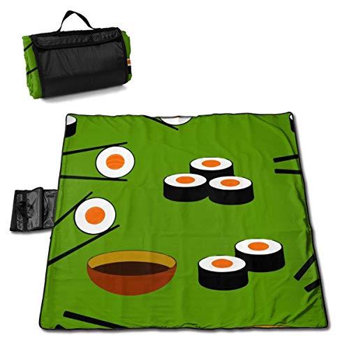 N/A Große wasserdichte Outdoor-Picknick-Decke, leckere Sushi-Japan-Liebhaber, sanddichte Strandmatte, Tragetasche für Camping, Wandern, Gras, Reisen