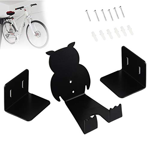 Rendcqin Bike Rack Hanger, Pedal to Wall Bracket Bicycle wall mount bike rack for wheel frame parking mountain bike, road bike (Black)