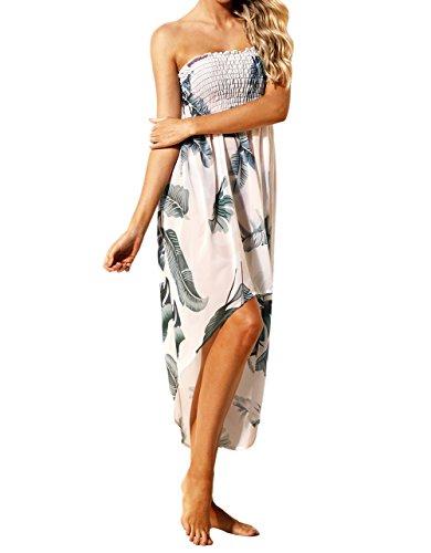 Eiffel Damen Chiffon Schulterfrei Sommer Strand Badeanzug Cover Ups Kleid - - Groß