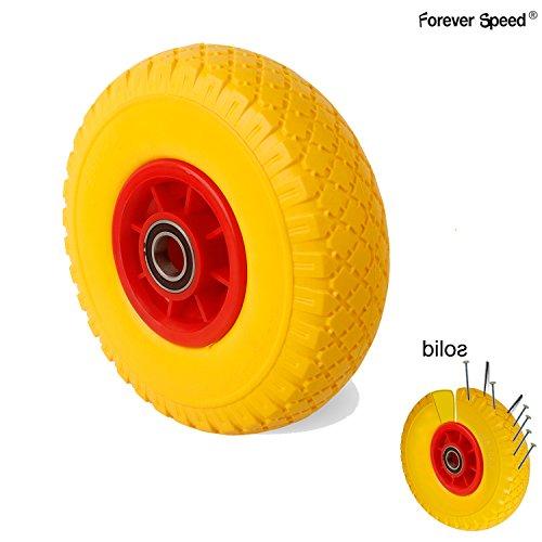 Forever Speed PU Rad Vollgummi Räder Schubkarrenrad Räder Pannensicher Ø260mm Reifenbreite 74 mm, Schaftdurchmesser 25 mm, Max Belastung 100kg
