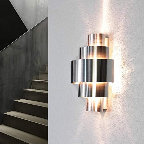 Exklusive Design Wandlampe Aluminium Lichtmuster E14 Wandleuchte Treppe Flur Wohnzimmer