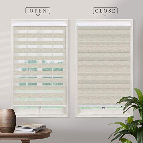 Cordless Zebra Roller Sheer Shades Blinds, Light Tan Custom Free Stop Dual Layer Window Shades with Valance, Sheer or Privacy Light Control, Day and Night Blinds for Windows, Doors, French Doors