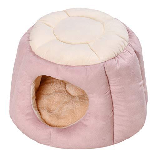 VNEIRW Kreativ Zelt Form Warm Katzenhöhle, Hundebett, Katzenkorb, Hausnest, Katzenhaus, Hundekorb, Hundehöhle, Hundehütte, Halb Geschlossen Katzenbett für Haustier Tiefschlaf (S, Rosa)