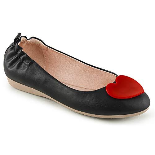 Olive-05 faltbare Ballerina mit elastischer Ferse und roten Herzen schwarz Detail - Vintage Rockabilly - (39 EU = US 9) - Pin Up Couture