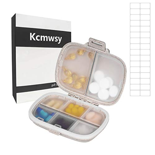 Kcmwsy Pill Organizer Box ,Cute Portable Travel Waterproof Small Pill case,Weekly Vitamin Container,Large compartments Daily Purse Medicine Dispenser,Pill sorter Reminder