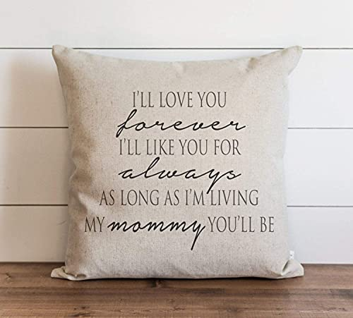 smartgood Love You Forever Mommy Pillow Cover Throw Pillow Cover Gift for Her Mom Day Gift to Mummy Grandma White Linen Square 45 * 45cm