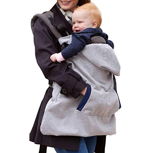 Tukistore Fascia porta bebè grigio,Giacca marsupio Cloak Bebè Cover Invernale per Marsupio caloroso d'inverno con cappuccio antivento e copertura con tasche