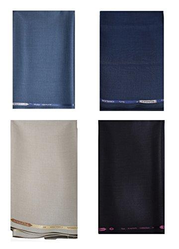 KUNDAN SULZ GWALIOR Men's Executive 4 (Four) Fancy Formal Trouser Fabric Combo Set (4 Pant Piece for Men) (Blue, Navy Blue, Beige & Black, 1.50 Meters)