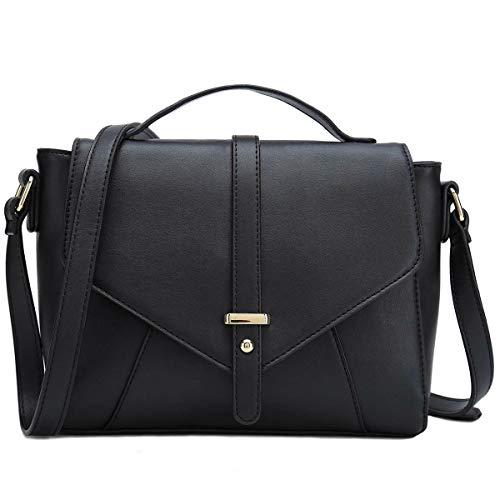 CATMICOO Casual Umhängetasche Damen Handtasche Elegant Crossbody Bag Citytasche Schultertasche Umhänge Tasche Klein (Schwarz)