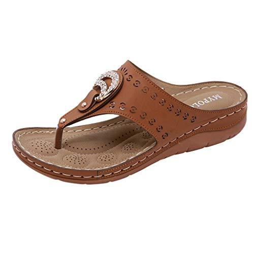 Dorical Damen Mode Sandalen Strass Flip Flops Sommer Pantoffeln Mit Keilabsatz,Zehentrenner Pantoffeln Slippers Schlappen für Frauen Übergroß 35-41 EU(Z1-Schwarz,41 EU)