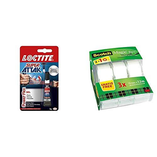 Loctite Super Attak Power Flex Gel, adesivo trasparente e istantaneo specifico per materiali flessibili & Scotch 3M Crystal Tape Nastro Adesivo Trasparente Invisibile, 3 Pezzi, 19 mm x 7.5 m