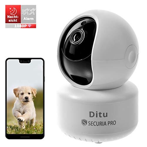 SECURIA PRO DiTu - 1080P WLAN Kamera mit Nachtsicht, Überwachungskamera IP Kamera Indoor WLAN, Smart Home WiFi Kamera, Bewegungsmelder, 2-Way Audio