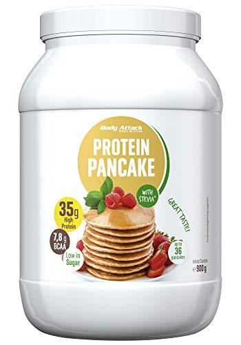 Body Attack Protein Pancake Mix mit Stevia 900g-Eiweiß-Pfannkuchen mit 35% Protein, Backmischung mit wenig Zucker & fettarm für fluffig-leckere Pancakes in 5 Minuten-reicht für 36 Protein Pancakes
