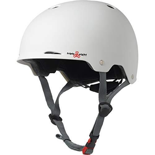 Triple Eight Gotham Dual Certified Skateboard and Bike Helmet, White Matte, Small / Medium (3322)