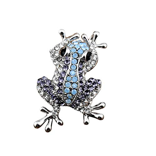Timesuper Cute Animal Shape Brooch Pin Personality Frog Rhinestone Brooch Pin Pendant for Women Jewelry Gift Blue