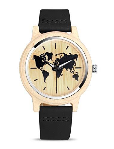 MICGIGI Reloj de Pulsera de Madera de bambú con patrón de Mapa del Mundo para Hombre y Mujer con Correa de Cuero (Negro)