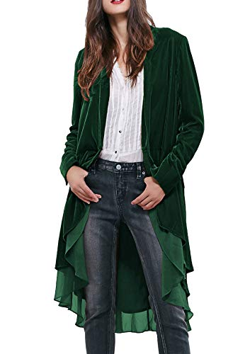 R.Vivimos Womens Ruffled Asymmetric Long Velvet Blazers Coat Casual Jackets (XL, Green)