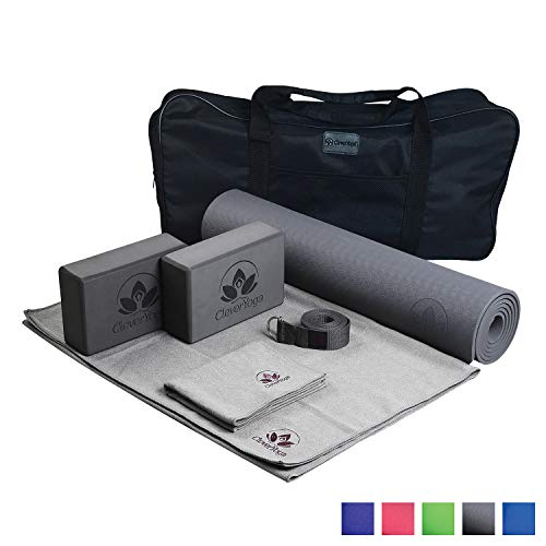 Yoga Set Kit 7-Piece 1 Yoga Mat, Yoga Mat Towel, 2 Yoga Blocks, Yoga Strap, Yoga Hand Towel, Free Carry Case for Exercises Yogis and Mom (Gray)