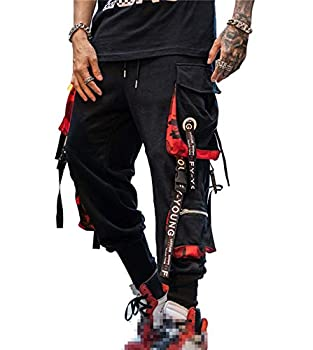 Hello MrLin Men s Jogger Pants Punk Cargo Baggy Techwear Hip Hop Harem Pants Streetwear Tactical Track Pants Black