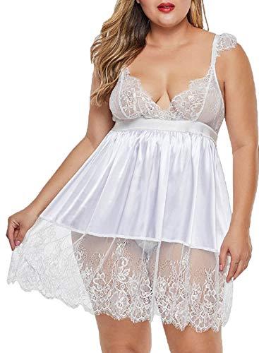 CORAFRITZ Babydolls Sexy Dessous Plus Size Spitze Damen Nightwear Gürtel Brautkleid Dessous, Weiß XXXXL