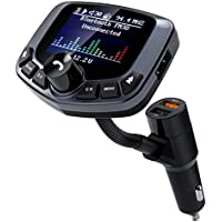 Transmisor Fm Bluetooth Coche, TechRise Adaptador de Radio para Coche con Pantalla a Color de 1,8 Pulgadas, QC3.0 2.4 A Puertos USB duales para el Coche, Reproductor de MP3, USB, Aux, Modo EQ