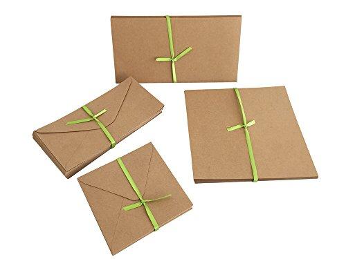 Jumbo Set, Umschläge und Faltkarten aus Naturkarton, 50 Karten + 50 Umschläge in quadratisch und DIN Lang, 100 Teile in einem Set, ideal zum Selbstgestalten