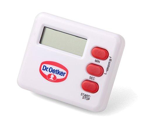 Dr. Oetker Kurzzeitmesser, digitaler Küchenwecker zum Backen und Kochen, Timer mit präziser Zeitangabe, extra lautes Alarmsignal, (Farbe: weiß/rot), Menge: 1 Stück