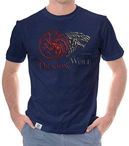 shirtdepartment - Game of Thrones - Herren T-Shirt - Dragon & Wolf Wappen dunkelblau-dunkelrot L