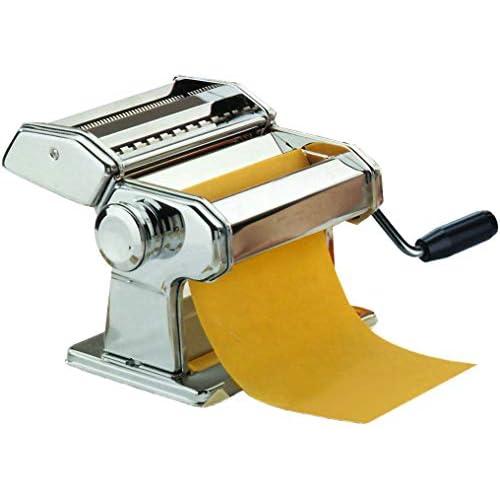 Maury's Sfogliatrice Inox 9 Tagli Macchina Per La Pasta Fresca Fatta in Casa all'Uovo per Fettuccine Tagliolini Funzionamento Manuale a Manovella Larghezza 150mm in Acciaio e Rullo In Alluminio