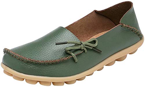 Fangsto Women's Leather Slipper Loafers Flat Shoes Slip-Ons US Size 10.5 Army Green