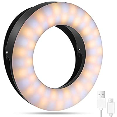 Whellen Selfie Ring Light for Phone Laptop Tablets Camera Photography Light Video, Rechargeable Clip On Light with Double Row 60 LED Upgraded from Whellen